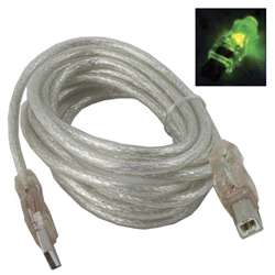 10' LED Male A to Male B USB Cable - Green
