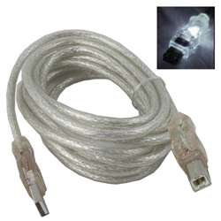 10' LED Male A to Male B USB Cable - White