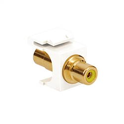 Quickport RCA Female, Yellow Insert, White