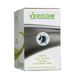Vericom 1000ft Box CAT5e U/UTP Solid Riser CMR - White
