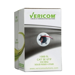 Vericom 1000ft Box CAT5e U/UTP Solid Riser CMR - Red