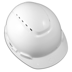 3M Hard Hat Vented White 4-Point Ratchet Suspension H-701V