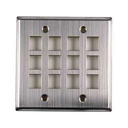 Double Gang Stainless Steel 12 Port Plate