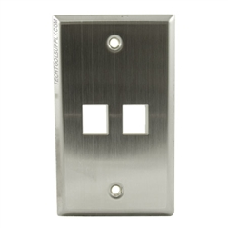 2 Port Stainless Steel Wall Plate