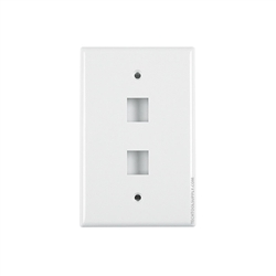 2 Port Wall Plate White