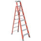 8ft 300lb Fiberglass Cross-Step/Shelf Ladder - Type IA