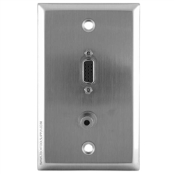 1x 3.5mm 1x SVGA Stainless Steel Wallplate